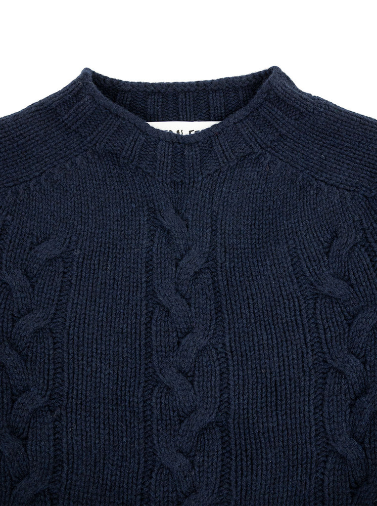 The Northern Fells Clothing Company Cable Knit Sweater Made in Scotland Navy Neck