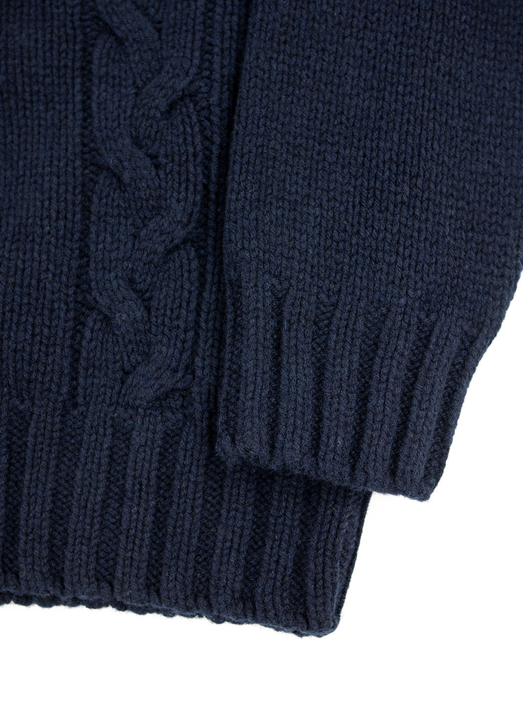 The Northern Fells Clothing Company Cable Knit Sweater Made in Scotland Navy Sleeve