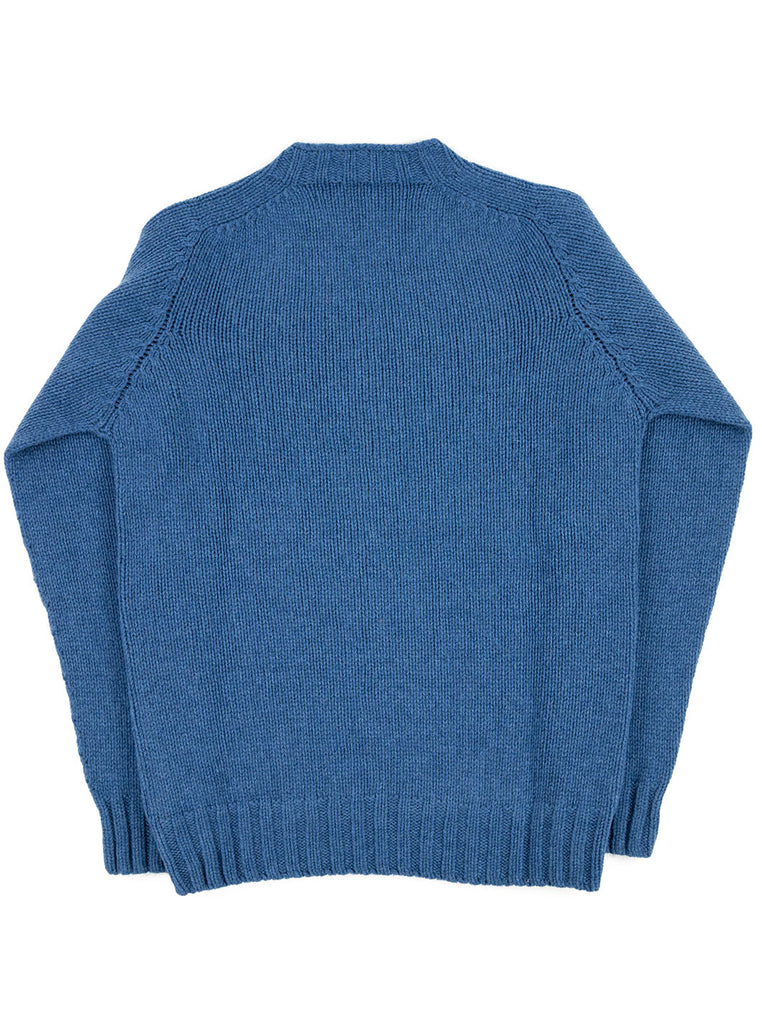 The Northern Fells Clothing Company Cable Knit Sweater Made in Scotland Soft Denim Back