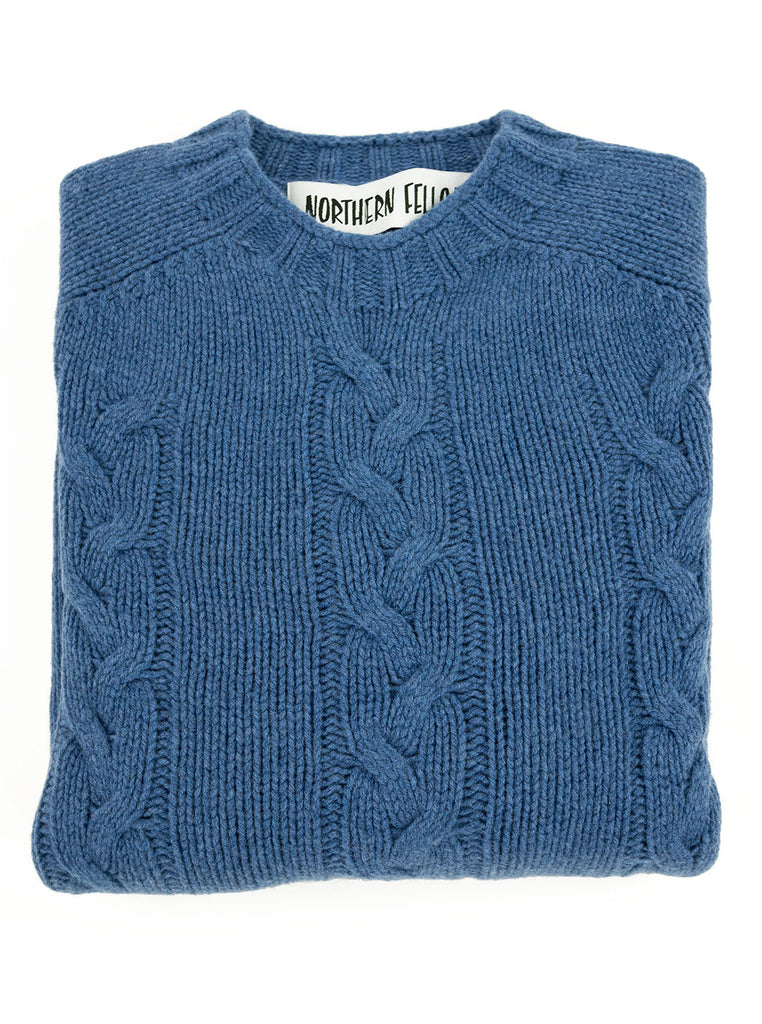 The Northern Fells Clothing Company Cable Knit Sweater Made in Scotland Soft Denim Folded