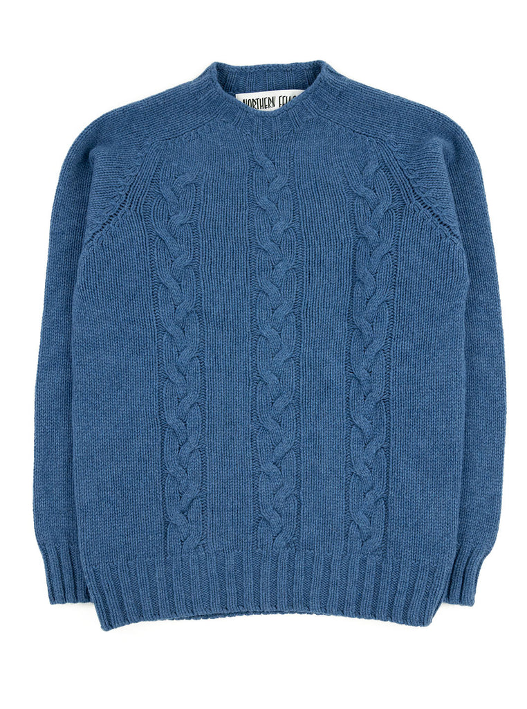 The Northern Fells Clothing Company Cable Knit Sweater Made in Scotland Soft Denim Full