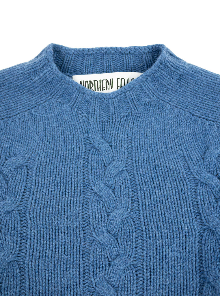 The Northern Fells Clothing Company Cable Knit Sweater Made in Scotland Soft Denim Neck