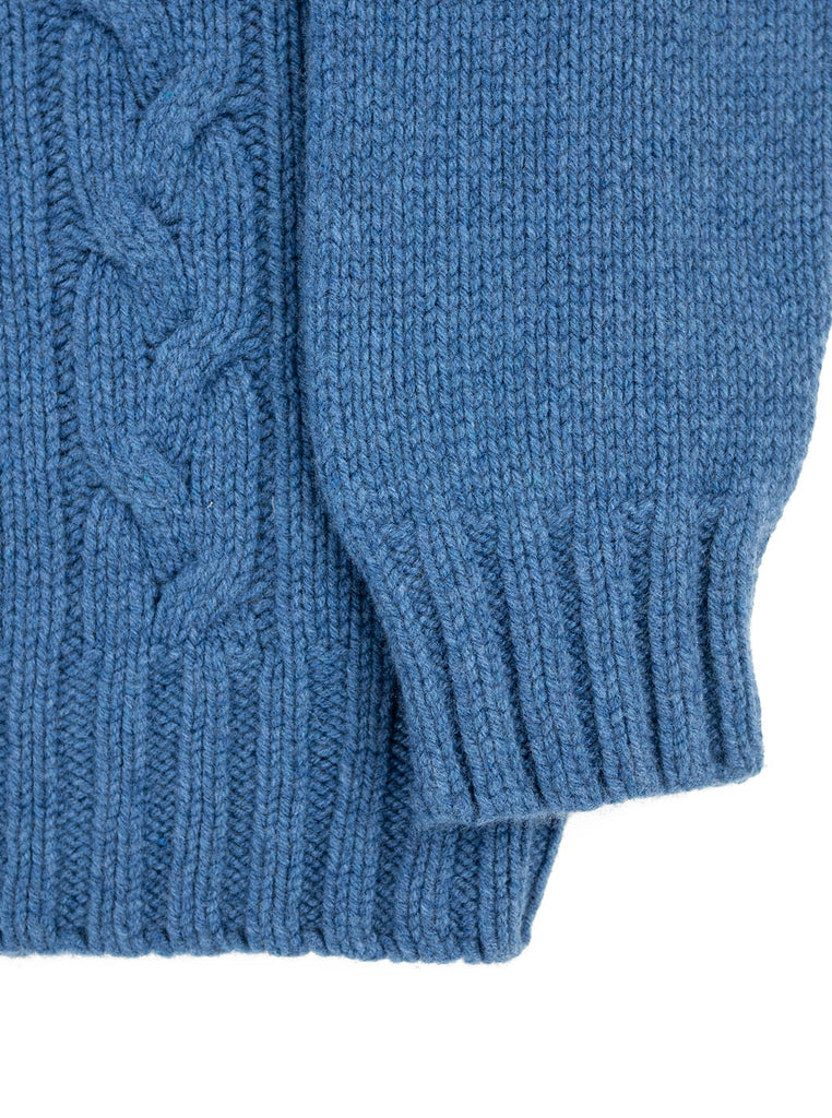 The Northern Fells Clothing Company Cable Knit Sweater Made in Scotland Soft Denim Sleeve