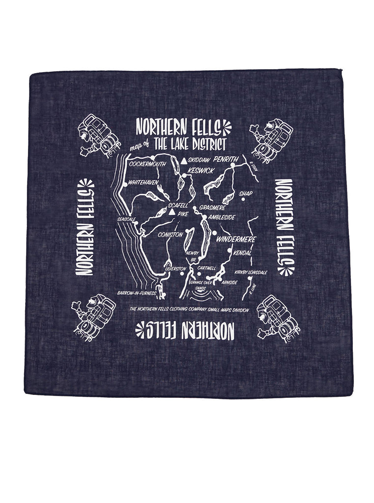The Northern Fells Clothing Company Map Bandana Navy Full