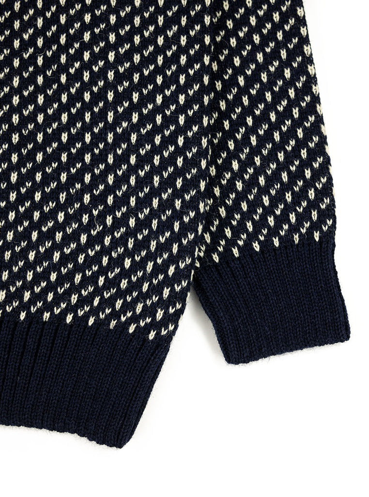 The Northern Fells Clothing Company Norwegian Fishermans Sweater Navy Ecru Sleeve