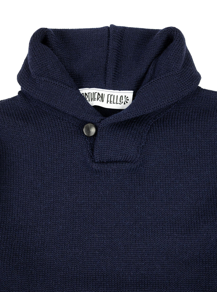 The Northern Fells Clothing Company Shawl Collar Sweater Navy Collar