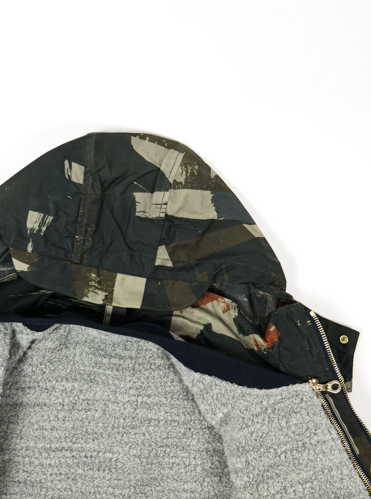 "alt=""The-Workers-Club-Abstract-Camo-Shell-Ltd-Edition-Jacket-Multi-with-liner-neck"""