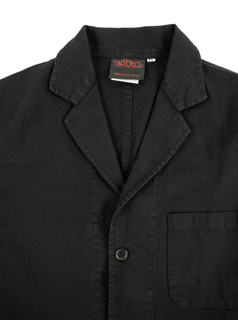 Vetra Blazer Dark Navy Indigo Made in France The Northern Fells Clothing Company Neck