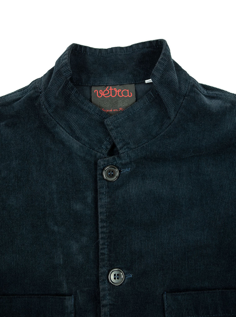 Vetra Nehru Collar Needlecord Navy Made in France The Northern Fells Clothing Company Neck