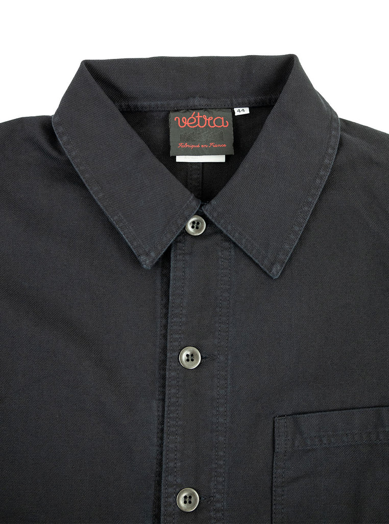 Vetra Workjacket Dark Navy Indigo Made in France The Northern Fells Clothing Company Neck