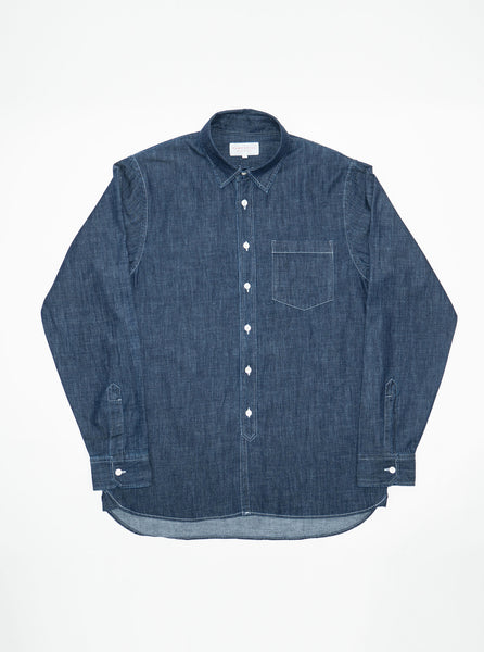 hawksmill-denim-co-HKSH02-Japanese-chambray-indigo-long-sleeve-placket-shirt-the-northern-fells-clothing-company