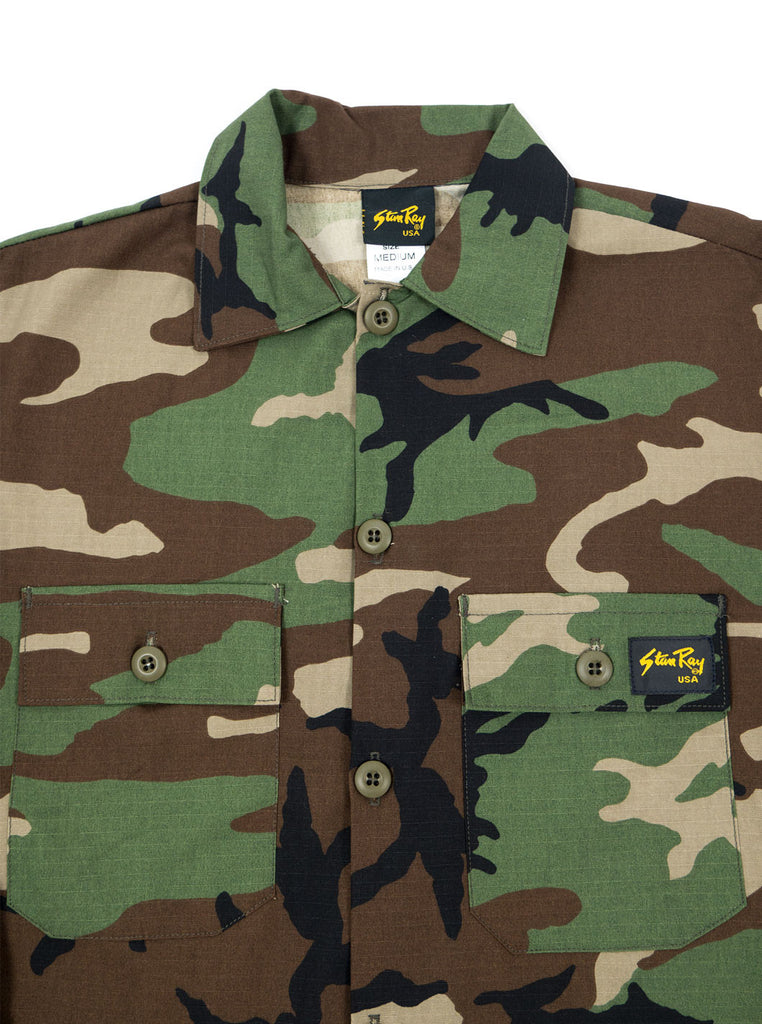 "alt=""stan-ray-military-woodland-camo-og-fit-twill-fatigue-four-pockets-jacket-made-in-the-usa-the-northern-fells-clothing-company-chest"""