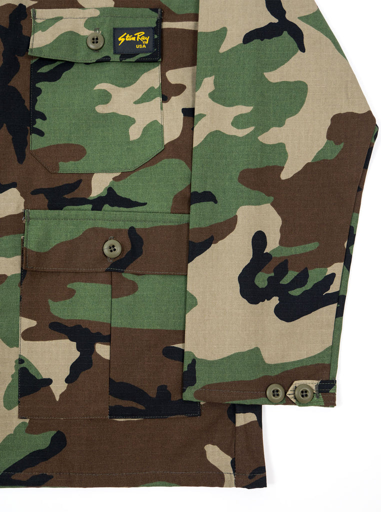 "alt=""stan-ray-military-woodland-camo-og-fit-twill-fatigue-four-pockets-jacket-made-in-the-usa-the-northern-fells-clothing-company-cuff"""
