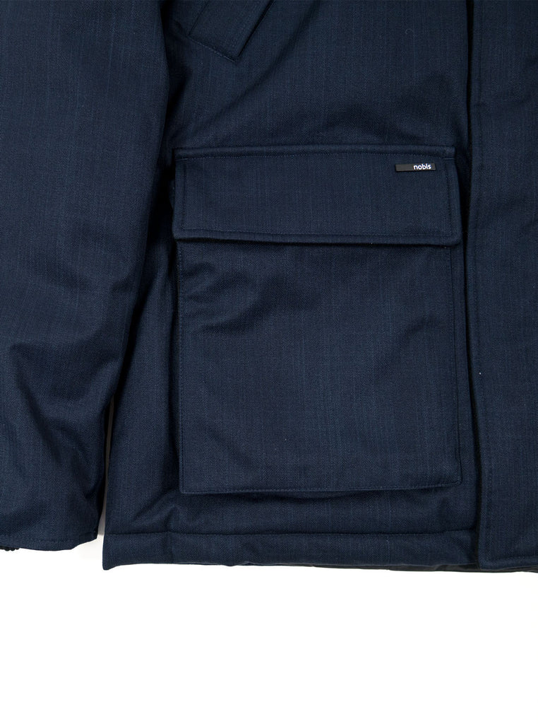 "alt=""Nobis-Heritage-Down-parka-navy-Northern-fells-pocket"""