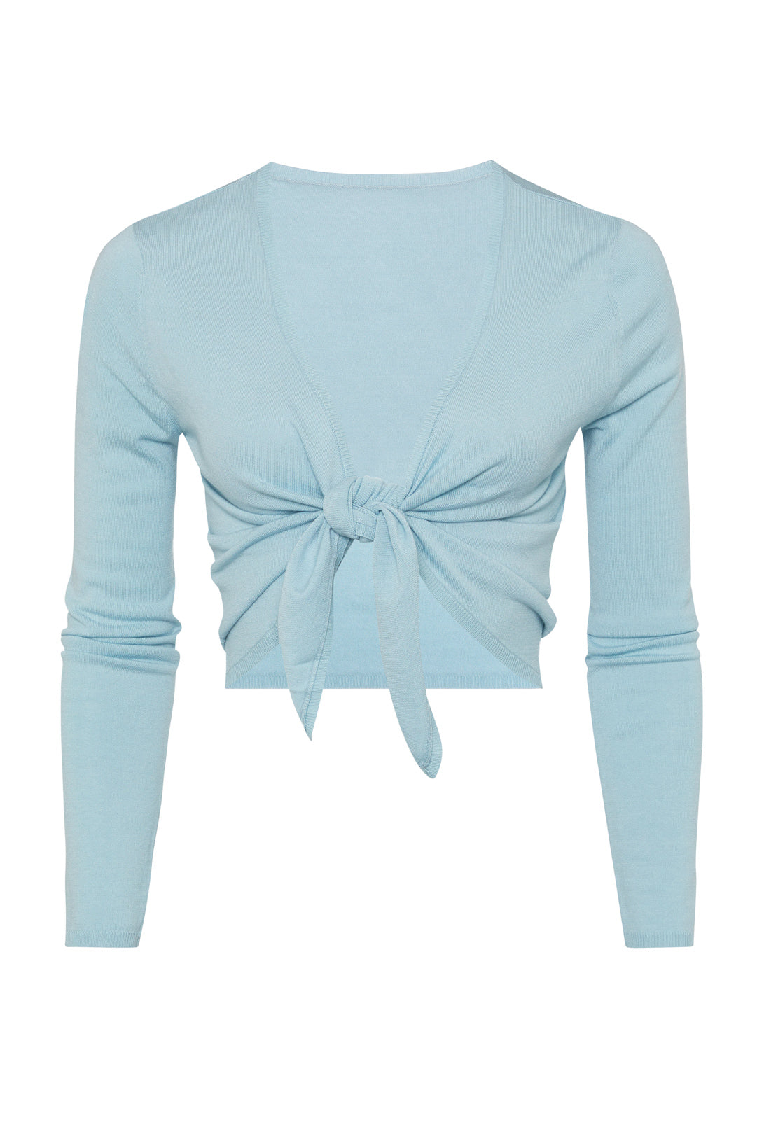 Cocoon Tie Front Top - Soft Blue