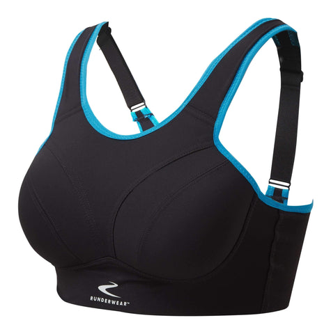 Easy-On Support Running Bra - Black/Cyan