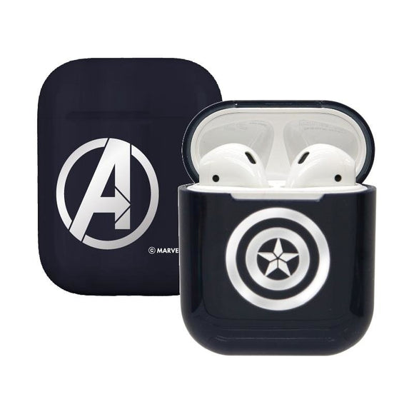 Marvel Avengers Captain America Airpod Casing Iphone Airpods Accessories (Silver) - HERO AUDIO