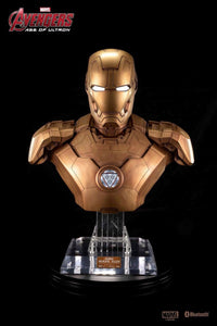 Gold Iron Man Mark 43 Bust 1:1 Figurative Decorative Bluetooth HI-FI System Speaker Set - HERO AUDIO