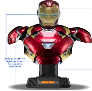 Marvel Hero Avengers 3 Iron Man Mk46 Bust 1:1 Figurative Decorative Bluetooth Hi-Fi System Bluetooth Speaker Set