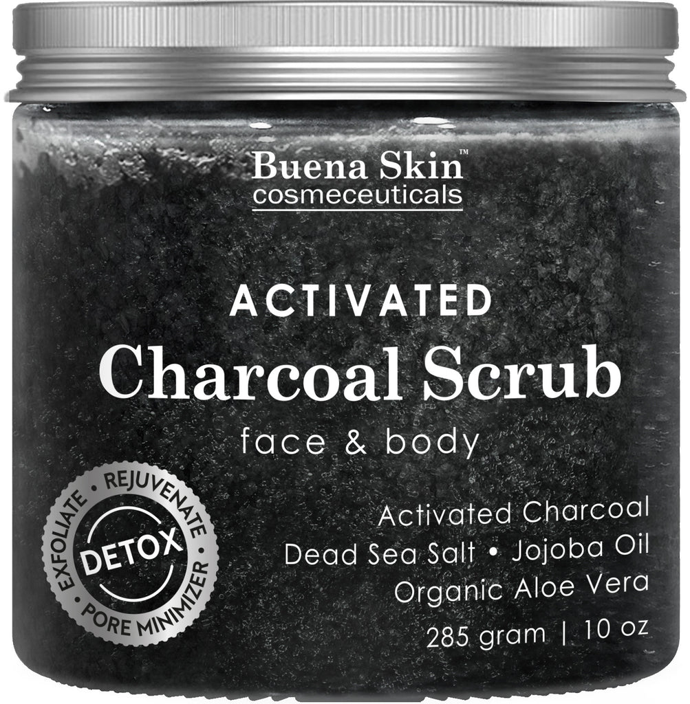 The BEST Activated Charcoal Scrub 10 oz.- Pore Minimizer & Reduces Wrinkles, Blackheads & Acne Scars, & Anti Cellulite Treatment - Great Body & Face Cleanser by Buena Skin