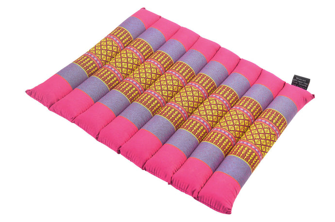 Small Rollable Flat Meditation and Yoga Cushion - Fuchsia / Blue Azure