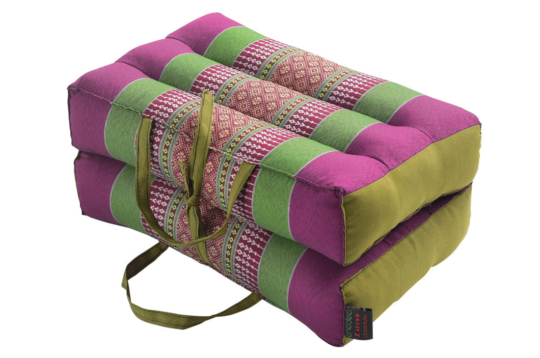 Medium Foldable Meditation and Yoga Cushion - Purple / Green