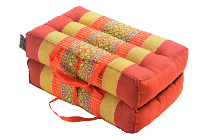 Medium Foldable Meditation and Yoga Cushion - Red / Yellow