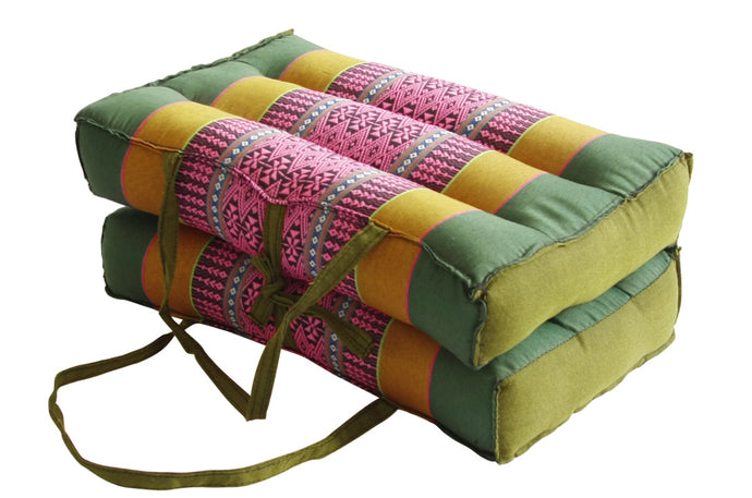 Medium Foldable Meditation and Yoga Cushion - Green / Light Pink