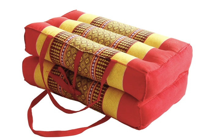 Medium Foldable Meditation and Yoga Cushion - Spanish Red / Yellow