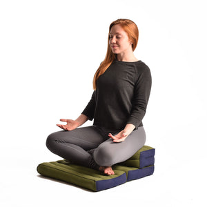 Double Foldable Meditation and Yoga Cushion - Black / Red
