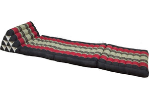 Large Foldout Triangle Thai Cushion / Bed  - Black / Red