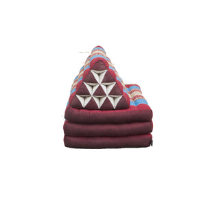 Large Foldout Triangle Thai Cushion / Bed - Burgundy / Blue