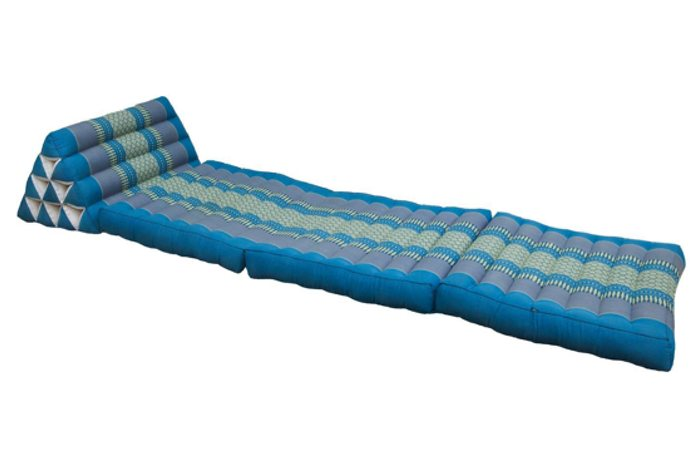 Large Foldout Triangle Thai Cushion / Bed  - Teal / Blue