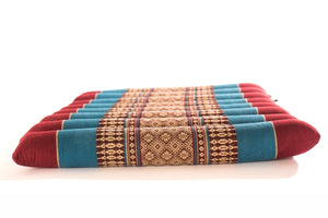 Flat/Rollable Meditation Cushion Burgundy/Blue