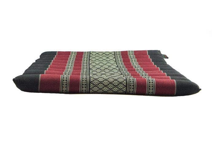 Large Rollable Flat Meditation and Yoga Cushion - Black / Red