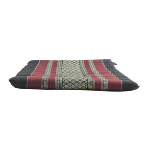 Large Rollable Flat Meditation and Yoga Cushion -Black / Red