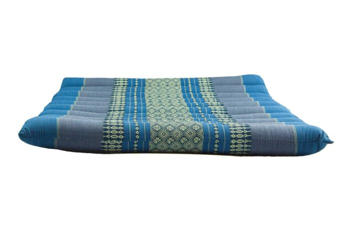 Large Rollable Flat Meditation and Yoga Cushion - Teal / Blue