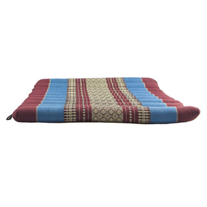 Large Rollable Flat Meditation and Yoga Cushion - Burgundy / Blue