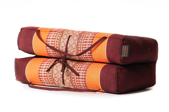 Large Foldable Cushion Orange/Burgundy