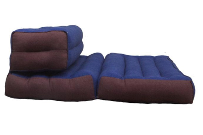 Double Foldable Meditation and Yoga Cushion - Blue / Brown