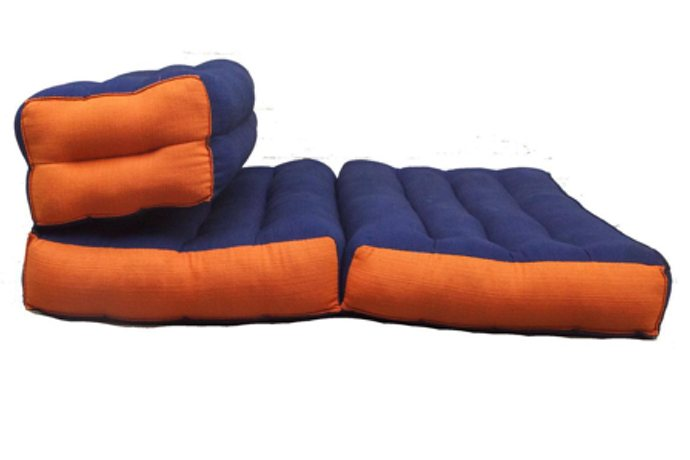 Double Foldable Meditation and Yoga Cushion - Blue / Orange