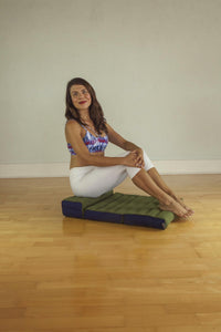 Double Foldable Meditation and Yoga Cushion - Green / Blue