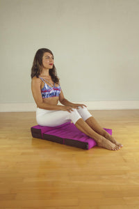 Double Foldable Meditation and Yoga Cushion - Fuchsia / Brown