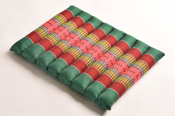 Small Rollable Flat Meditation and Yoga Cushion - Green Emerald / Burgundy
