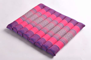 Small Rollable Flat Meditation and Yoga Cushion - Purple / Fuchsia