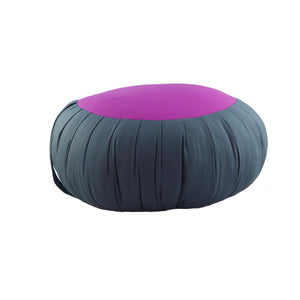 Round Meditation and Yoga Cushion - Dark Gray / Fuchsia