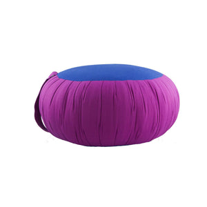 Round Meditation and Yoga Cushion - Fuchsia / Blue