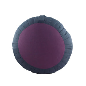 Round Meditation and Yoga Cushion -Dark Gray / Purple