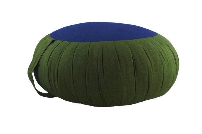Round Meditation and Yoga Cushion - Green / Blue