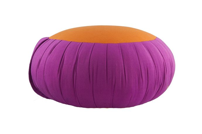 Round Meditation and Yoga Cushion- Fuchsia / Orange